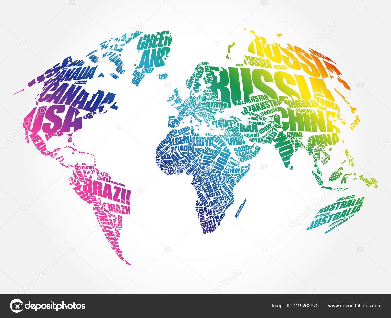 World Map Typography Word Cloud Names Countries Education ...