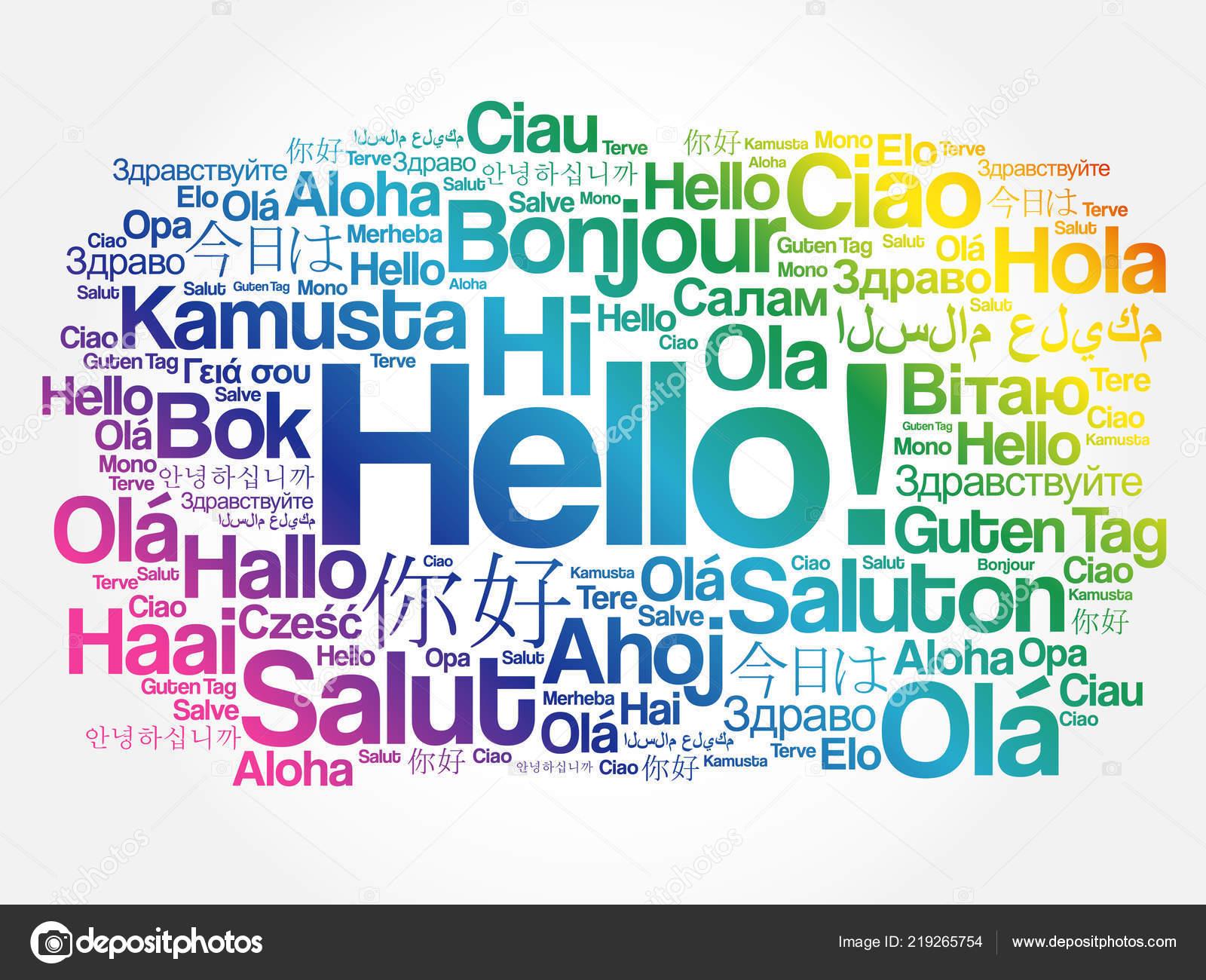 Hola Nube Palabras Diferentes Idiomas Del Mundo Concepto