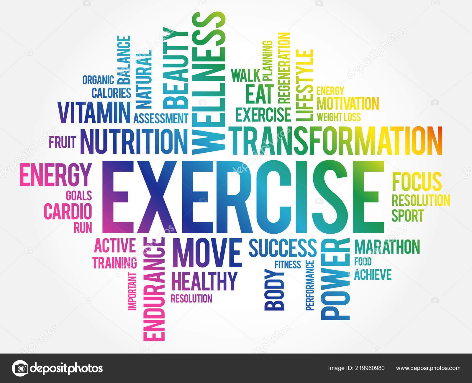 Exercise Word Cloud Fitness Sport Health Concept Stock Vector C Dizanna 219960980