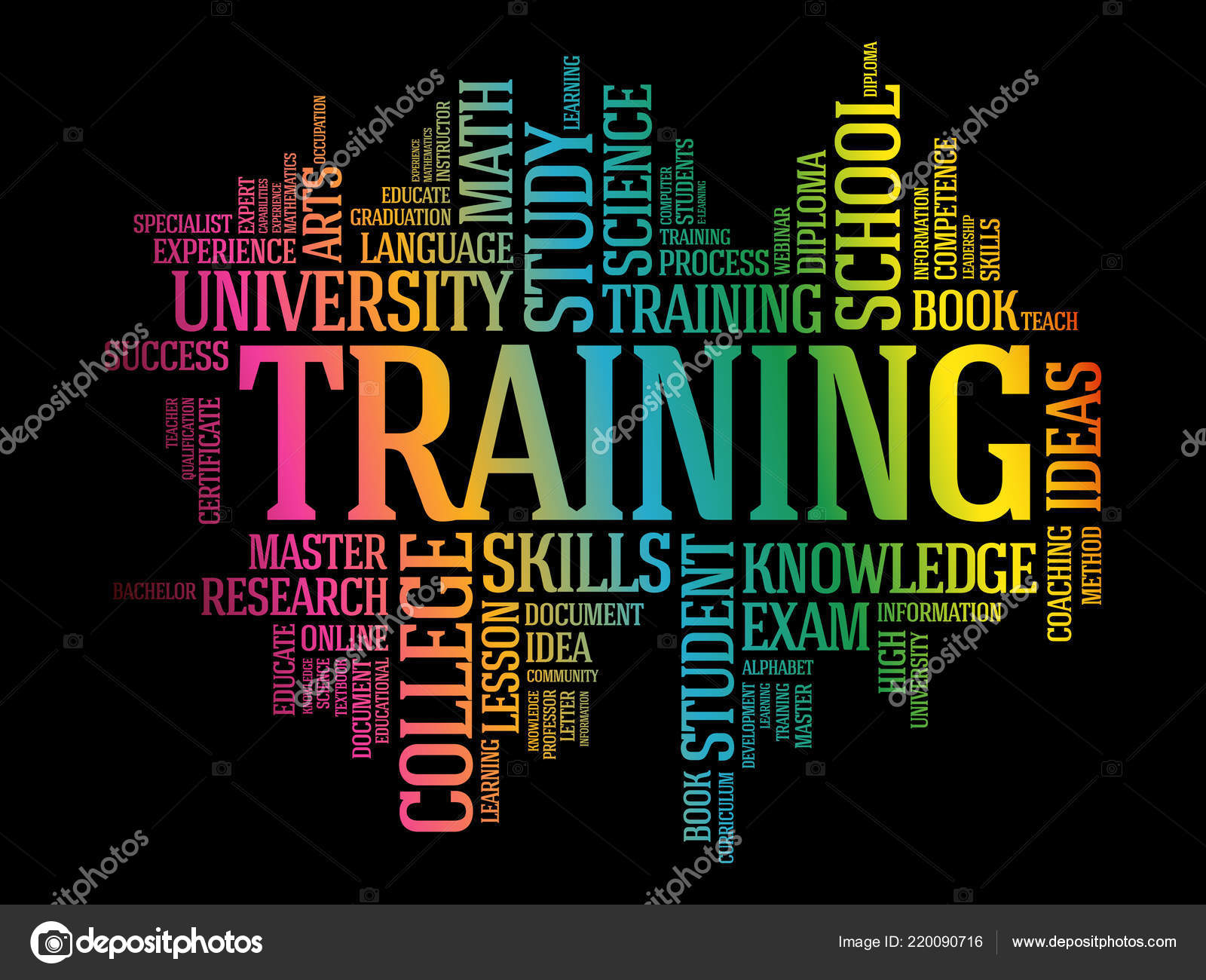 training word cloud collage education concept background stock