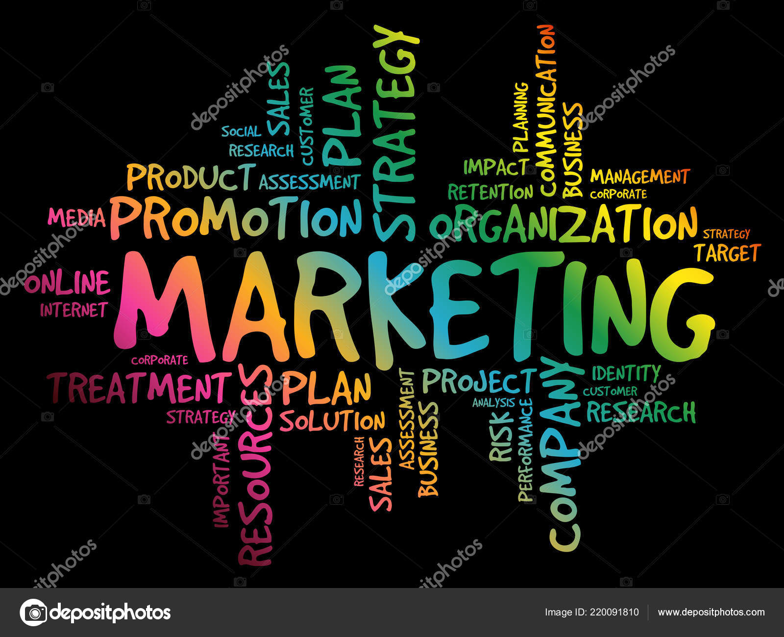 marketing word cloud collage business concept background stock