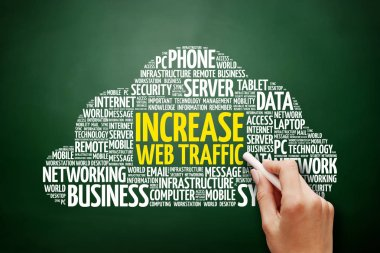 Increase web traffic word cloud collage, technology business concept background on blackboard
