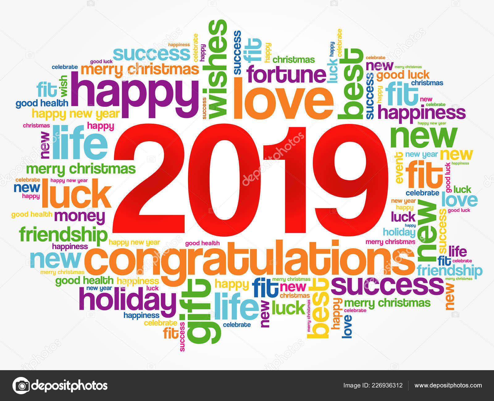 2019 year greeting word cloud collage happy new year celebration greeting card vector by dizanna