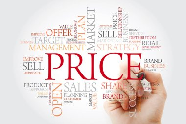 PRICE word cloud with marker, business concept background