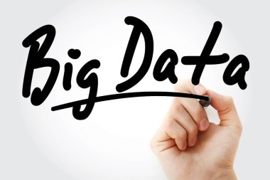 Hand writing Big Data with marker