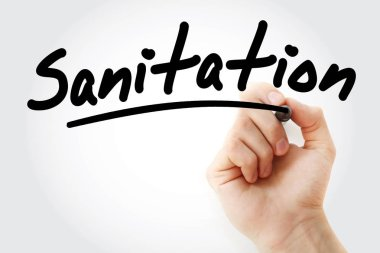 Hand writing Sanitation with marker