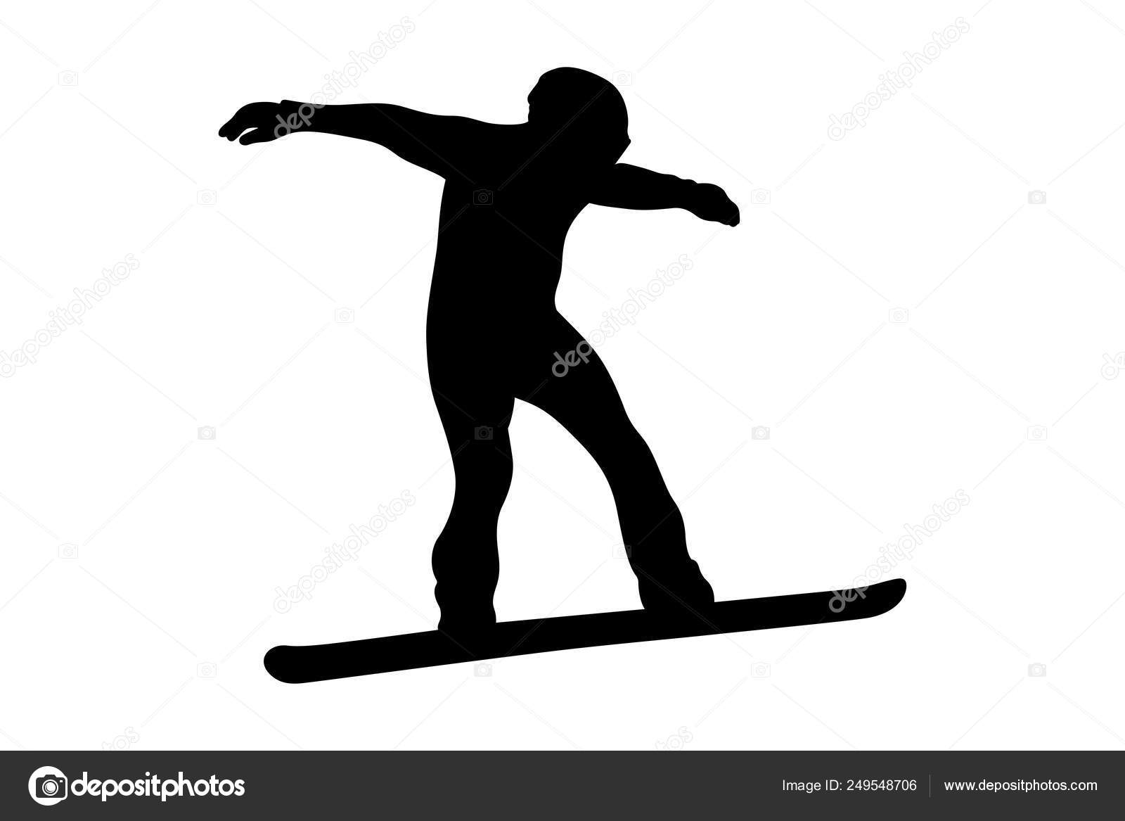 Winter Sport Snowboarding Rider Snowboard Black Silhouette