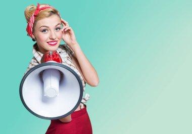 Retro style Woman holding megaphone stock vector