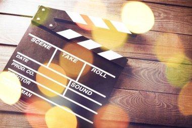 Movie clapper template, close-up view