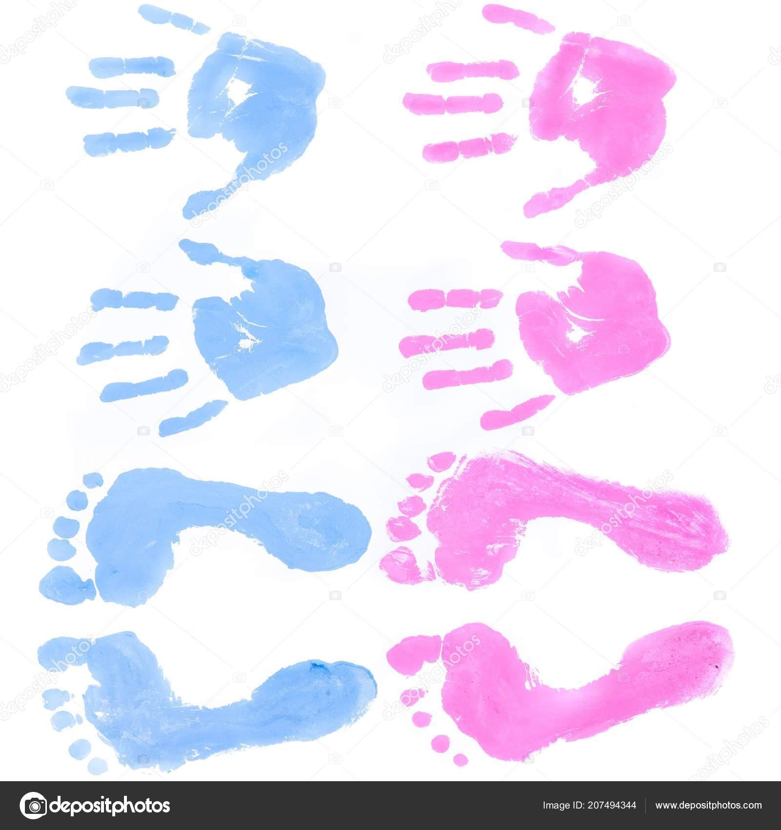 Blau Und Rosa Hand Und Fußabdrücke Isoliert Stockfoto