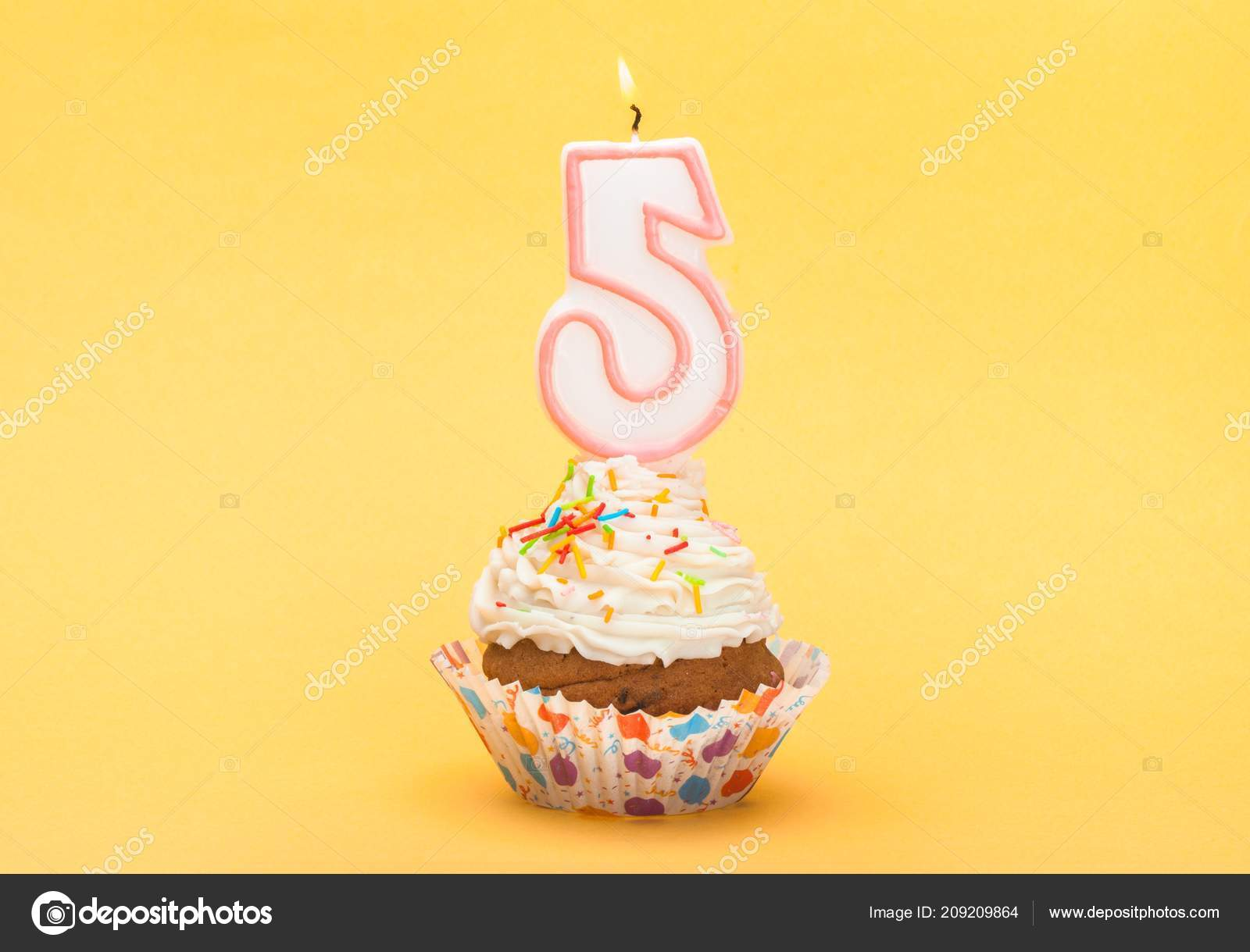 Birthday Cupcake Candle Frosted Sprinkles Fairy Cake Tasty Stock Image