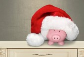Piggy bank with Santa Claus hat isolated on  background