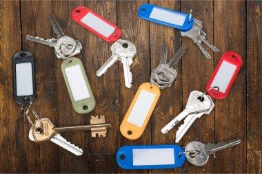 Key ring key bunch label house key directly above plastic