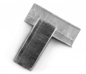 Photo Staples closeup office equipment close-up staple strips stationery isolated