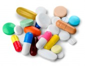 Fotografie close-up view of Colorful pills and tablets