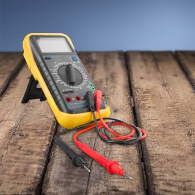 Electrician electricity voltmeter multimeter scientific experiment work tool high voltage sign