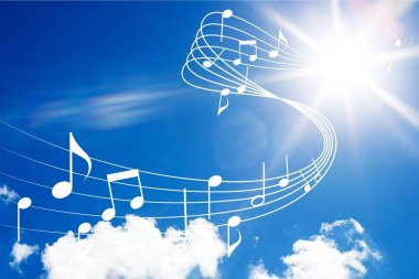 music notes at cloudy sky illustration
