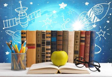 Row of books, pencils, eyeglasses, green apple on open book stock vector