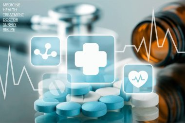 Close-up view of medical pills