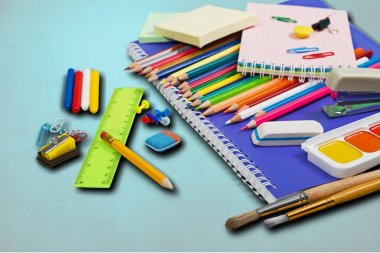 Colorful school stationery, back to school background