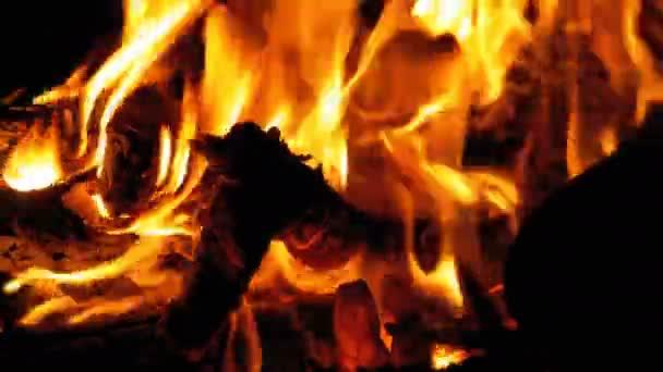 Ohně v noci. V oranžové plameny hořících polen