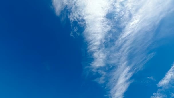 Mraky se pohybují na modré obloze s Bright slunce svítí. Timelapse. Krásný bílý načechraný mraky nad modré obloze stoupají v časová prodleva. Mraky pozadí