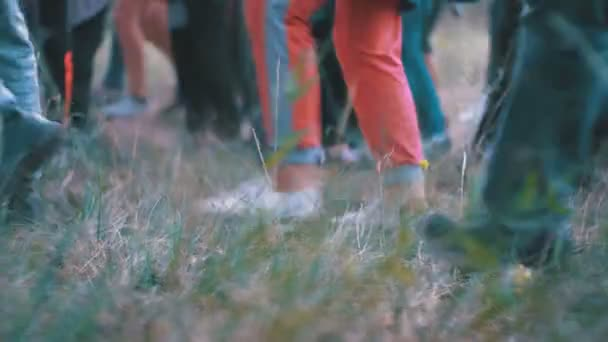 Legs of a crowd of people walking along the path in the woods in the evening