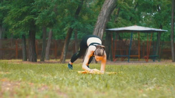 Mladý sportovec žena v Sport oblečení zabývá cvičení jógy, které leží na koberci v parku na zeleném trávníku