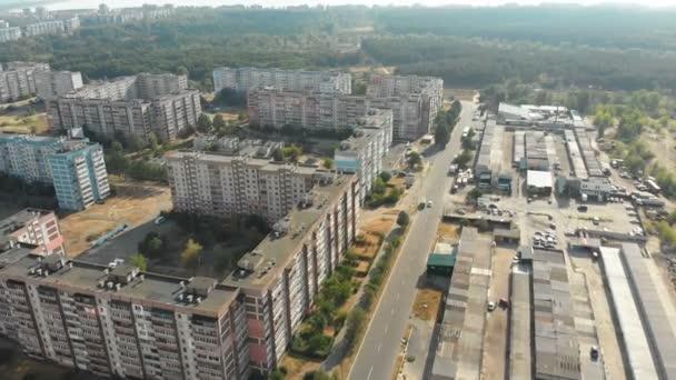 A légi felvétel a többszintes lakóépületek a városban