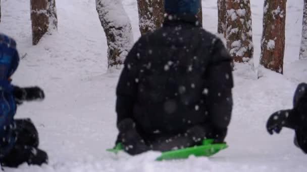 Kinder rodeln einen verschneiten Hügel im Kiefernwald hinunter. Zeitlupe