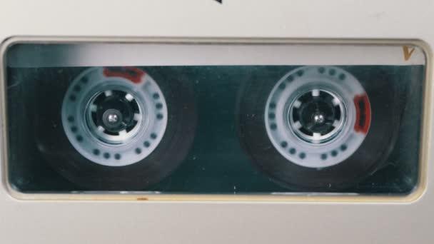 Audio szalag. Vintage magnó játszik Audio kazetta egészül ki ott