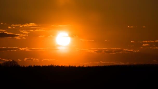 Západ slunce nad stromy a mraky