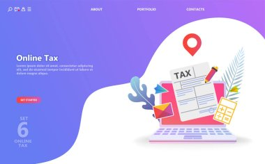 Online tax payment. People filling tax form. Flat isometric concept of online bill payment, shopping, banking, accounting Can use for template, landing page, ui, web, mobile app, poster, banner, flyer