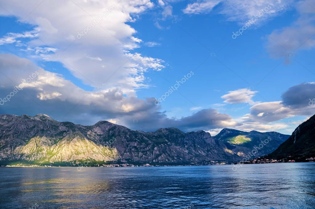 Beautiful landscape of Perast - historic town on the shore of the Boka Kotor bay Boka Kotorska , Montenegro, Europe. Kotor Bay is a UNESCO World Heritage Site.