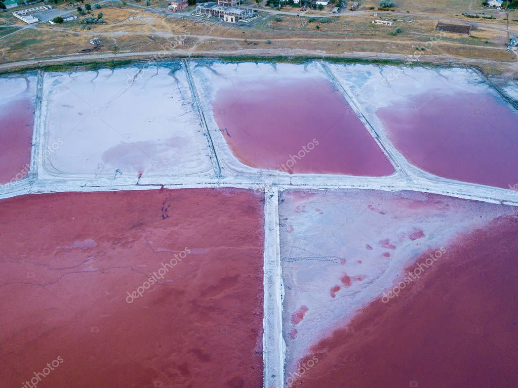 View from the top of the relief of the Pink Salt Lake Sivash production and salt and therapeutic mud.Ukraine Kherson region