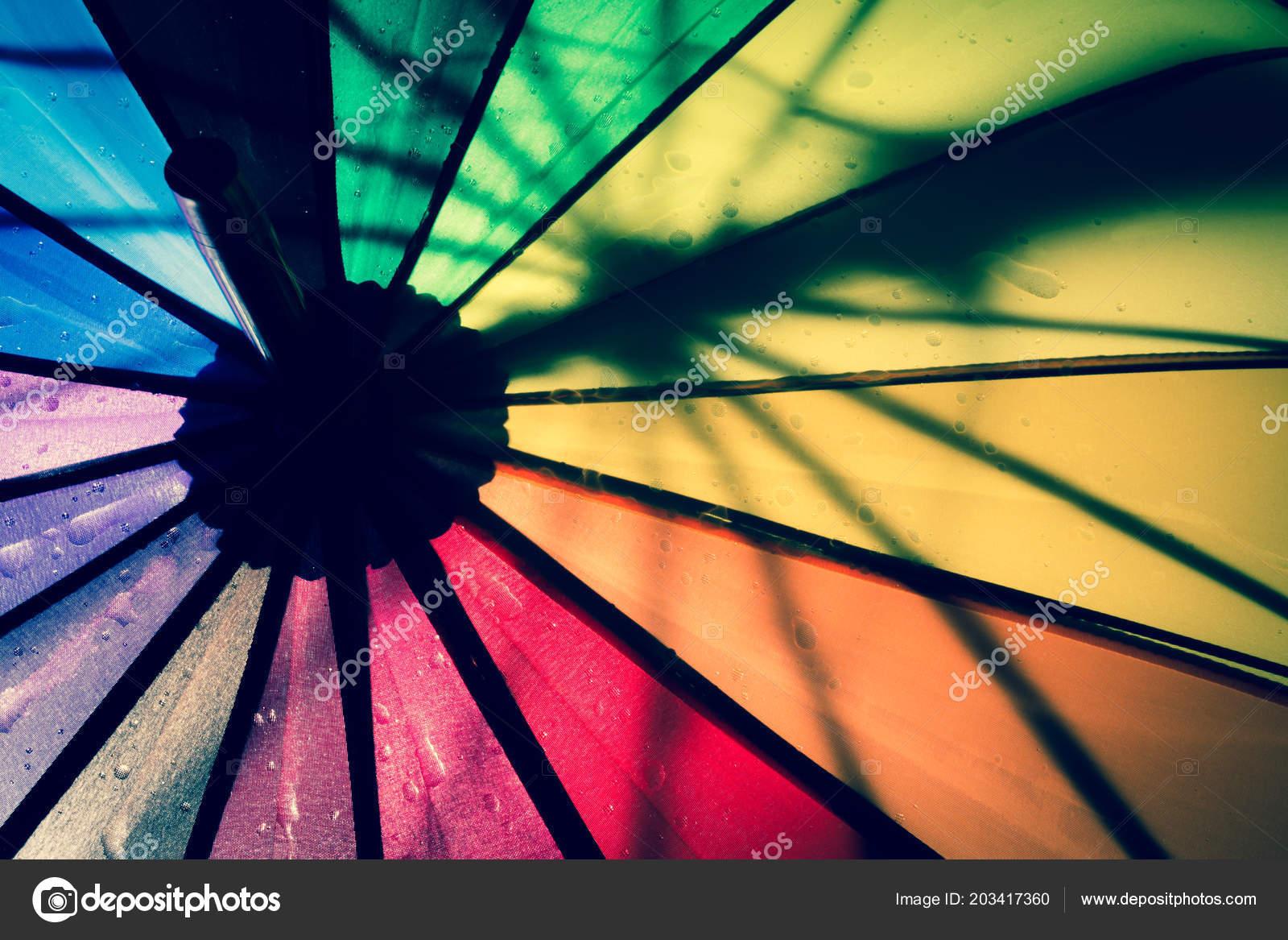 multi colored colorful umbrella all colors rainbow raindrops vintage