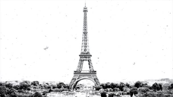 Black and white parallax video of the panorama of Paris with the Eiffel Tower in winter with beautiful and slow falling snow.