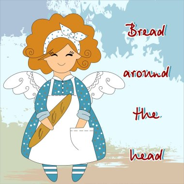 Bread around the head. Chef cook with a French loaf in his hands in a white apron and apron in a beautiful dress with polka dots Angel Baker. Beautiful baker