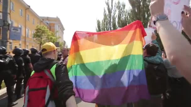 June 18, 2017. Kiev, Ukraine. Gay pride. March of equal rights of the LGBT community of Ukraine Kyivpride 2017. About a thousand activists marched the center of Kiev.
