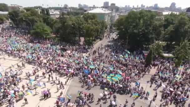 Július 28-án, 2018. Kyiv, Ukrajna. A légi felvétel a kereszt-hordozó felvonulás. Az Ukrán ortodox egyház követői ezer védjegy a nap a keresztény hitre Kievan Rus.