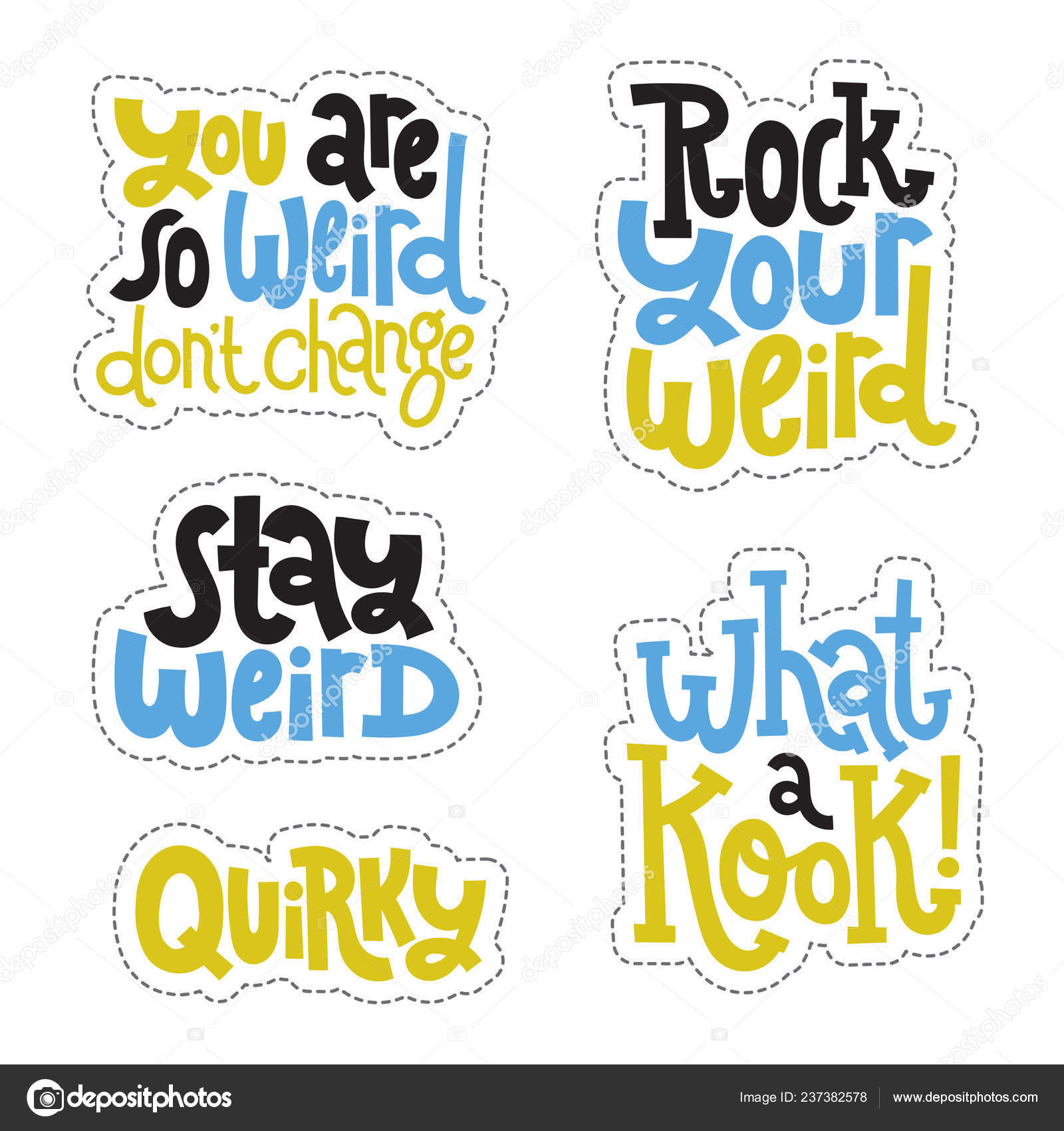 Weird and beautiful sticker set design template with hand drawn vector lettering stock