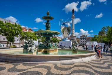 Lisbon, Portugal. 15 August 2020. View of the Chapions League trophy  ballon replica in downtown Lisbon