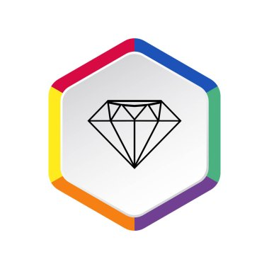 Diamond web icon, luxury concept, outline vector illustration