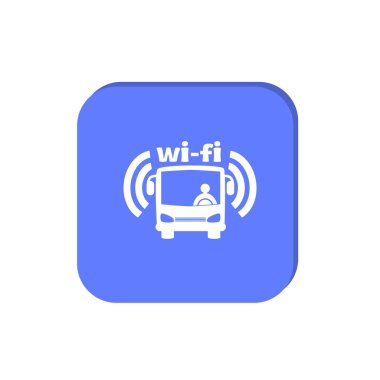 minimal graphic web icon, vector illustration of bus with driver and wifi signal