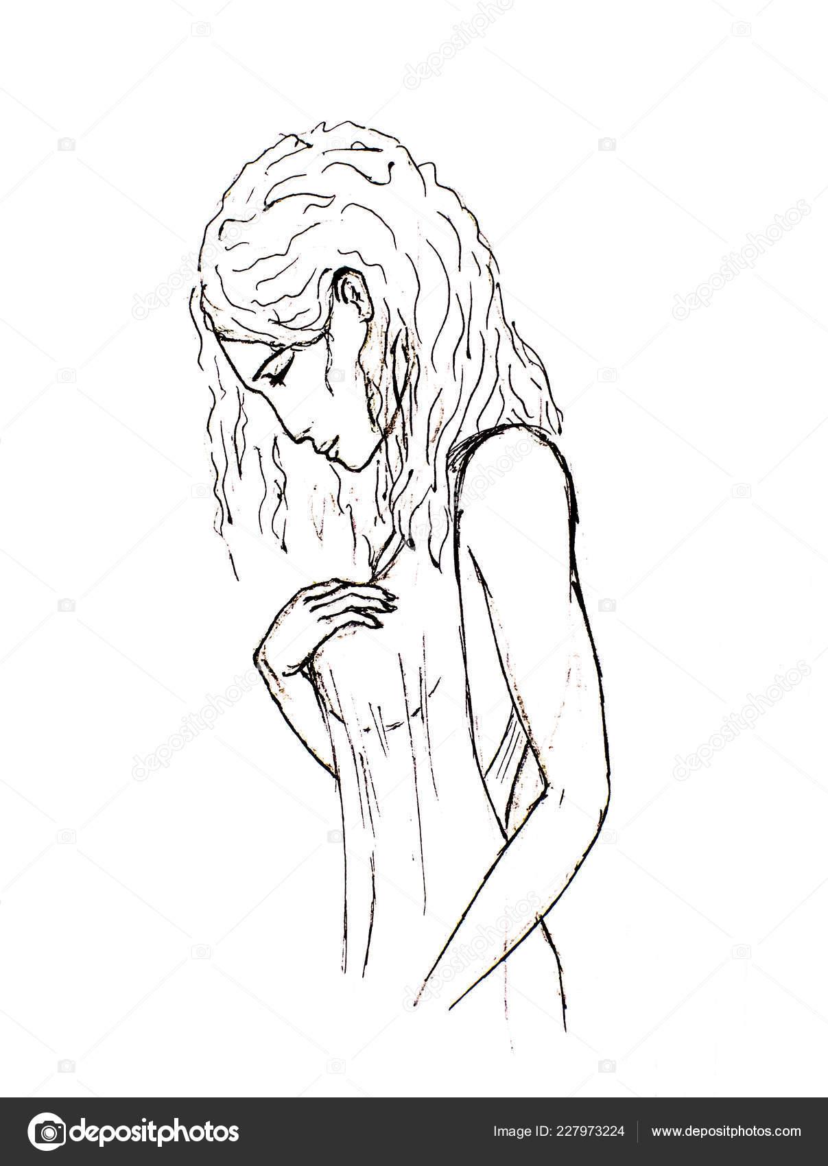 Belle Jeune Fille Vêtue Dune Robe Translucide Translucide