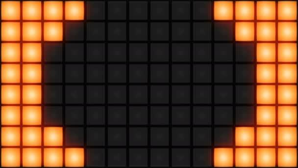 Orange Disco nightclub dance floor wall glowing light grid background vj loop