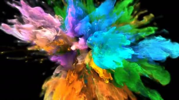 Color Burst - colorful orange green smoke explosion fluid particles alpha matte
