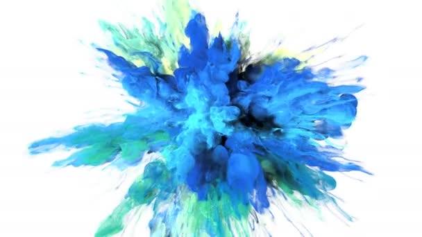Color Burst - barevné modrá azurová žlutý kouř exploze kapaliny plyn inkoust částice zpomalené Alfa podkladu izolované na bílém