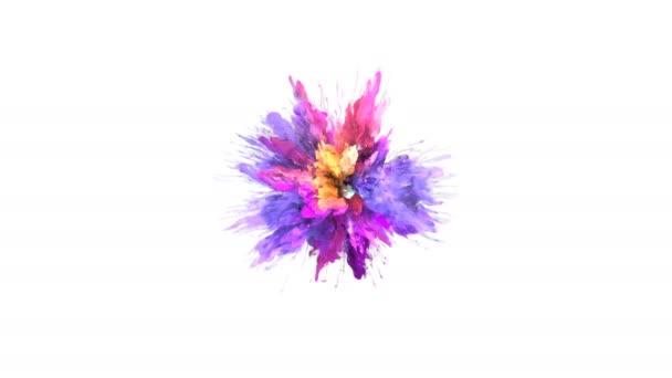 Színes robbanás - színes lila bíbor rózsaszín sárga füst robbanás folyékony gáz tinta részecskék lassított alfa-Matt elszigetelt fehér széles lövés