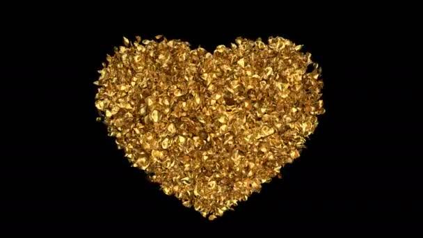 Romantikus, repülő arany Rózsa virág szirmai szív alakú Szent Valentin-nap, anyák napja, esküvői évfordulója üdvözlőlapok, esküvői meghívó születésnapi képeslap alfa-Matt problémamentes hurok 4k